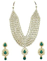 Bridal Jewellery Set Rama Green Colored Seven Line Drop Shaped Reverse AD Necklace Set