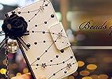 iPhone5/5s iPhone6ケース 手帳型 ハンドバック お財布 手帳系 ケース エレガント水玉 レザーケース Leather Case カード入り チェーイン付き ホワイト (iPhone5/5s)