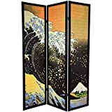 Oriental Furniture Tsunami Art Room Divider, 6-Feet Tall Japanese Great Wave Shoji Screen