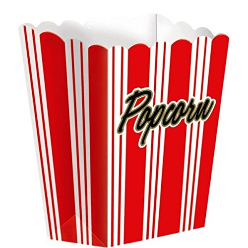 Amscan Movie Night Hollywood Themed Party Large Striped Popcorn Boxes (8 Piece), Red/White, 11 x 7