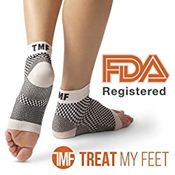 Plantar Fasciitis Sleeve & Compression Sock For Feet: FDA-Registered Stocking For Heel, Ankle, Arch Support (Pair) - Edema Relief Orthopedic Socks For Men & Women Great Fit Guaranteed By Treat My Feet
