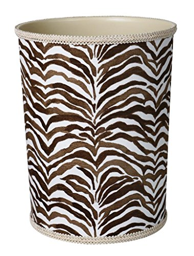 Bathroom Trash Can Waste Baskets Brown & White Zebra Animal Print w/ Plastic Inside (Zebra Print Garbage Can compare prices)