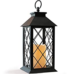 BRIGHT ZEAL Vintage Candle Lantern with LED Flickering Flameless Candles with Timer and Remote (14\