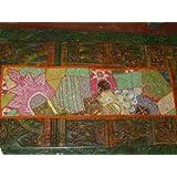 Table Runner Vintage Sari Beaded Moti Orange Green Tapestry Throw India