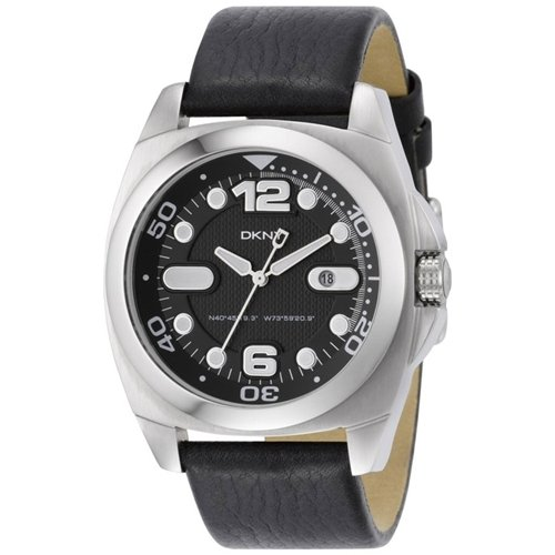 DKNY Men's NY1433 Leather Quartz Watch with Black Dial