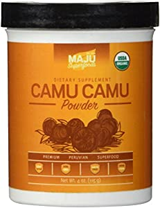 Organic Camu Camu Powder (4 oz) - 100% Raw from Peru, Certified USDA Organic, Pure Camu Camu Berry, 1181% Daily Vitamin C, Packaged in USA, Wide Scoop Container by Maju Superfoods