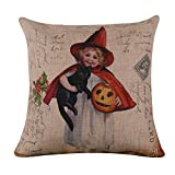 """LINKWELL 18""""x18"""" Retro Red Witch Black Cat Pumpkin Burlap Cushion Covers Pillow Case (CC831)"""