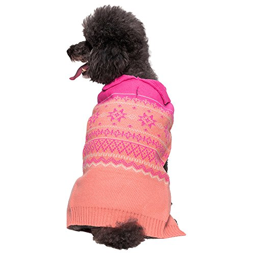 Blueberry Pet 10-Inch Fair Isle Dog Sweater For Girls In Cardigan Style, Small, Pink front-1037222