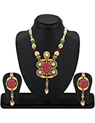REEVA COPPER NECKLACE SET WITH RED CHECKERS, KUNDAN, PEARL AND COLOURFUL BEADS