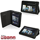 Snugg Kindle Fire Leather Case Cover and Flip Stand with Elastic Hand Strap and Premium Nubuck Fibre Interior (Black) - including Lifetime Guarantee
