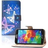 tinxi� Kunstleder Tasche f�r Samsung Galaxy S5 / S5 NEO Tasche Flipcase Tasche Etui Case Cover mit Karten Slot bunte Schmetterling