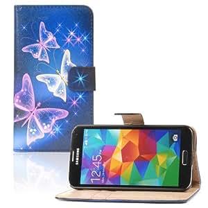 tinxi® Kunstleder Tasche für Samsung Galaxy S5 I9600 Tasche Flipcase Tasche Etui Case Cover mit Karten Slot bunte Schmetterling