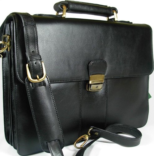 New top of the range large Visconti Tuscan black leather business briefcase organiser bag 01775