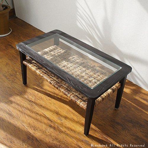 アジアン家具 バナナリーフ テーブル ローテーブル センターテーブル 机 ウォーターヒヤシンス シーグラス 木製 天然木 チーク材 無垢 ナチュラル アジアンティスト T718AT