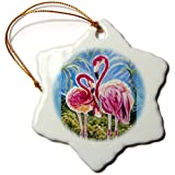 3dRose Orn_54920_1 This Is The Trinity Concept Of Love Bird Flamingos And The Subliminal Heart Snowflake Porcelain...