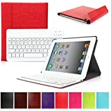 CoastCloud Really Thin Smart Cover Faux Leather Front Back Case Bluetooth Wireless Keyboard For iPad 2 3 4
