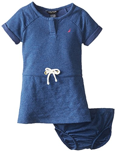 Nautica Baby-Girls Infant French Terry Quilted Dress, Blue Heather, 18 Months front-1048908