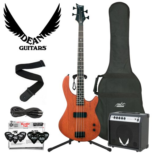 Dean Edge 09 Mahogany Electric Bass with Cable, Strap, Planet Waves 12 Pick Shredder Pack, 10-Watt Amp & MBT Bass Bag
