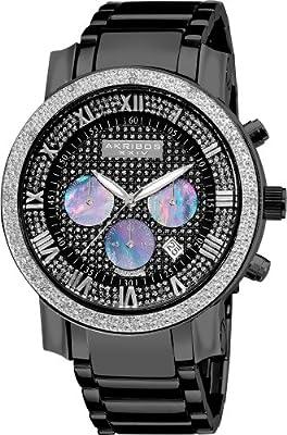 Akribos XXIV Men's AKR439BK Grandiose Dazzling Diamond Black Chronograph Watch from Akribos XXIV