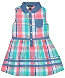 Nautica Girls 2-6X Plaid Dress with Chambray Detail, Light Teal, 4T