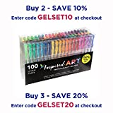 Inspired Art Gel Pen Set, XXL Pack (100 Unique Colors)