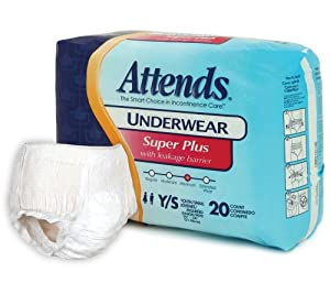 Attends Super Plus Absorbency Protective Underwear size Youth/Small from Attends