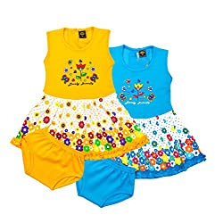 ELK Kids Girls Cotton Yellow and Blue Frock With Bottom Combo Set