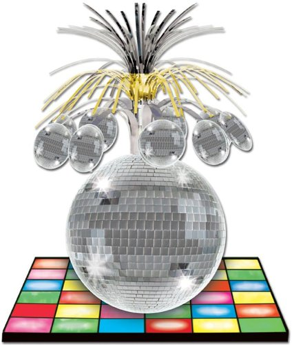"Disco Ball Centerpiece Party Accessory (1 count) (1/Pkg) - 9"" X 13"" - 1"