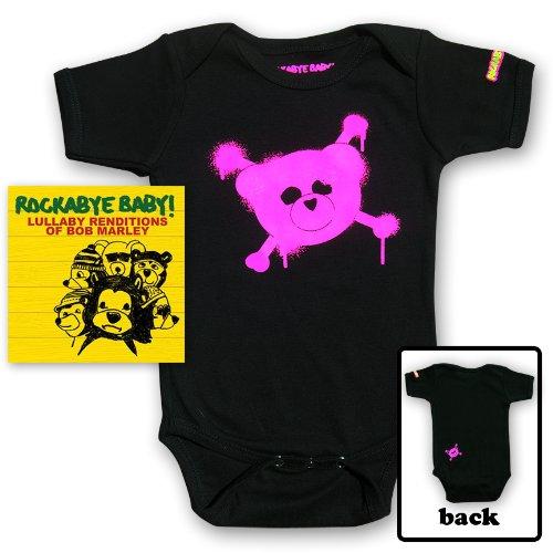 Rockabye Baby! Lullaby Renditions of Bob Marley + Rockabye Baby 100% Organic Cotton Onesie (Pink)