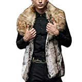 Li ファーコート メンズ 毛皮コート フォクス ロッグコート おしゃれ 上着 暖かい 秋冬 防寒 お洒落 メンズファッション M/L/XL/XXL