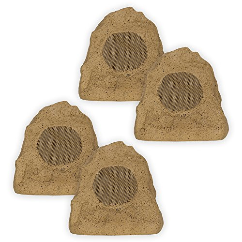 Theater Solutions 4R4S Outdoor Weatherproof Sandstone Rock Speakers 4 Piece Set 1000 Watts (Outdoor Sound System compare prices)