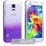 Yousave Accessories Samsung Galaxy S5 H�lle Violett / Klare Regentropfen Hart Schutzh�lle