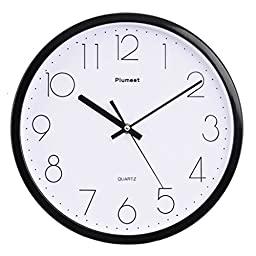 Plumeet 12-Inch Non-Ticking Silent Wall Clock with Modern and Classic Design for Living Room Large Kitchen Wall Clock Battery Operated (Black)