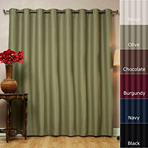 best home fashion olive wide width grommet top thermal blackout curtain 100 w x 96. Black Bedroom Furniture Sets. Home Design Ideas