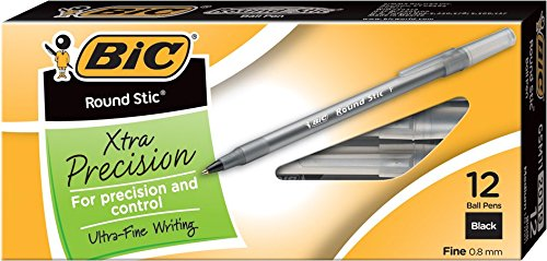 bic-round-stic-xtra-precision-ball-pen-fine-point-08-mm-black-12-count
