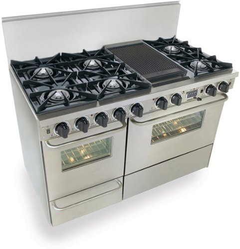 "48"" Pro-Style Dual-Fuel LP Gas Range with 6 Open Burners 3.69 cu. ft. Convection Oven Self-Cleaning and Double Sided Grill/Griddle Stainless"