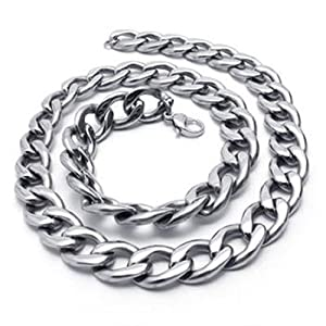 Konov Jewellery Heavy Large Stainless Steel Mens Necklace Link Chain, Colour Silver, Length 56cm 22 inch by Pin Zhen