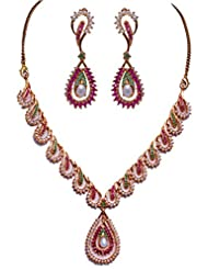 Gehna Pearl Ruby & Emerald Stone Studded Necklace Set With Yellow Gold Plating