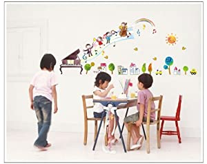 Salala Children Playing Music with Piano Trees Houses Sun and Car DIY Wall Decal for Nursery Room Decor from Salala