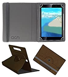 Acm Designer Rotating Leather Flip Case For Iball Slide Wings Tablet Cover Stand Brown