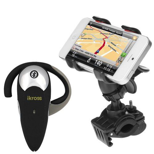 Ikross Universal Bike Mount Holder + Wireless Bluetooth Handsfree Headset For Htc One (E8) / (M8) / (M7), One Mini 2, Desire 610, One Max, One Mini; Apple Iphone Samsung Motorola Lg And More