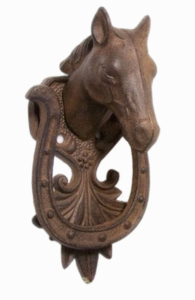 Iwgac Home Decorative Holiday Season Christmas Collectible Cast Iron Horse Door Knocker 0