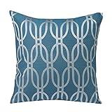 Urban Loft by Westex Oval Geo Feather Filled Cushion, 20 by 20 , Blue