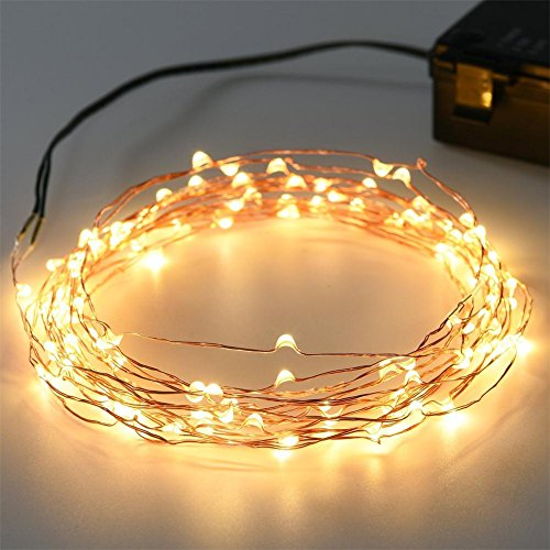 Kohree 120 Micro LED Battery Powered String Light with Timer, 40ft (1 Pack) Home Garden Lighting ...