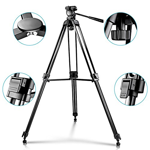 neewer 174 59 quot 150cm aluminum alloy tripod with 360 degree 1 4 quot thread fluid pan tilt