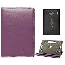 DMG Portable Foldable Stand Holder Cover Case for Digiflip Pro ET701 (Purple) + 6600 mAh Three USB Port Power Bank