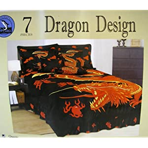 Dragon Bedroom Bedding Set 7pcs King Size Bedding