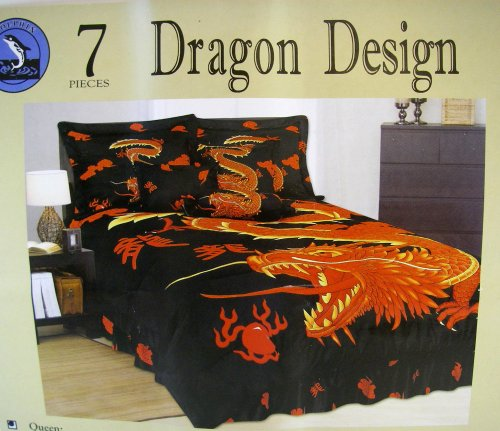 Dragon bedroom bedding set 7pcs queen size bedding for Dragon bedroom ideas