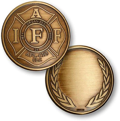 IAFF Maltese Cross Bronze Antique Challenge Coin - 1