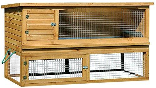dobar-23170-Groer-XXL-Eichenholz-Kleintierstall-de-Luxe-mit-Freigehege-doppelstckig-extra-Styropor-Isolierung-7-Jahre-Garantie-1635-x-715-x-995-cm